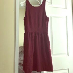 Madewell Burgundy Pierside Zip Back Pocket Dress